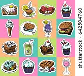 fashion patch badges with foods.... | Shutterstock .eps vector #642504760