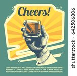 hand with drink glass. retro... | Shutterstock . vector #642506806