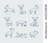 cute dog doodle line icons.... | Shutterstock . vector #642510628
