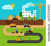 construction process. building... | Shutterstock . vector #642510643