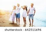 happy friends strolling on the... | Shutterstock . vector #642511696