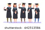 group happy smiling graduates... | Shutterstock .eps vector #642513586