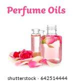 perfume oils concept. glass... | Shutterstock . vector #642514444