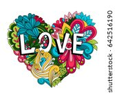 doodle floral heart with love... | Shutterstock . vector #642516190