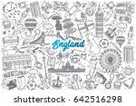 hand drawn england doodle set... | Shutterstock .eps vector #642516298