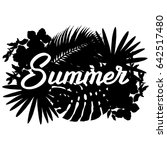summer lettering with palm... | Shutterstock .eps vector #642517480
