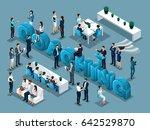 isometric cartoon people vector ... | Shutterstock .eps vector #642529870