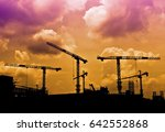 silhouettes of construction... | Shutterstock . vector #642552868