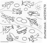 airplanes doodle set | Shutterstock .eps vector #642554170