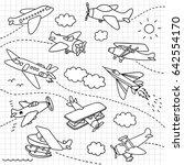 airplanes doodle set | Shutterstock .eps vector #642554170