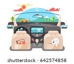 car autopilot computer system | Shutterstock .eps vector #642574858