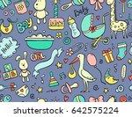 hand drawn seamless pattern... | Shutterstock .eps vector #642575224