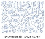 set of hand drawn baby and... | Shutterstock .eps vector #642576754