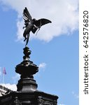 Small photo of LONDON - MAY 14, 2017. The statue of Eros (or Cupid) by Sir Alfred Gilbert unveiled in 1893 stands on the memorial fountain in the centre of Piccadilly Circus in central London, UK.