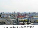 moscow skyline on a sunny... | Shutterstock . vector #642577453