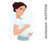 pregnant woman  isolated on...   Shutterstock .eps vector #642579208