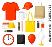 set of promotional gifts and... | Shutterstock .eps vector #642583018