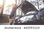 women the car was broken on the ...   Shutterstock . vector #642591214