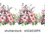 Stock photo seamless border with tropical plants flowers leaves exotic watercolor floral pattern with 642601894