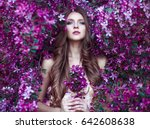 close up romantic portrait of ... | Shutterstock . vector #642608638