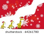 giraffe xmas background in... | Shutterstock .eps vector #64261780