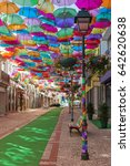 the sky of colorful umbrellas....   Shutterstock . vector #642620638
