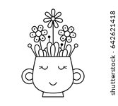 cup with flowers. coloring page.... | Shutterstock .eps vector #642621418