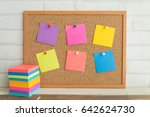 cork board with colorful blank... | Shutterstock . vector #642624730