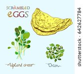 omelet or scrambled eggs vector ... | Shutterstock .eps vector #642627784