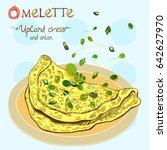 omelet or scrambled eggs vector ... | Shutterstock .eps vector #642627970