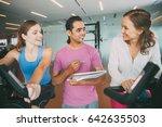 two women discussing progress... | Shutterstock . vector #642635503