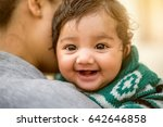indian woman with her newborn... | Shutterstock . vector #642646858