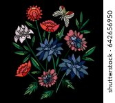 vector embroidery with flowers... | Shutterstock .eps vector #642656950