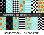 pink grapefruit vector patterns ... | Shutterstock .eps vector #642661984