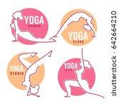 yoga class  women poses for... | Shutterstock .eps vector #642664210