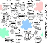 hand drawn graphic tea cups and ... | Shutterstock .eps vector #642665620