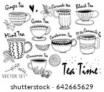 hand drawn graphic tea cups.... | Shutterstock .eps vector #642665629