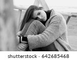 concept of loneliness and... | Shutterstock . vector #642685468