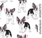 Stock vector seamless pattern with cartoon french bulldog in a pink glasses on a white background vector 642687070