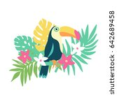 Stock photo tropical bird toucan and exotic plants and flowers trendy fashion print design element 642689458
