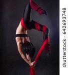 the woman is engaged in aerial... | Shutterstock . vector #642693748