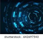 neon blue circles vector... | Shutterstock .eps vector #642697543
