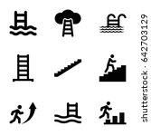 set of 9 ladder filled icons... | Shutterstock .eps vector #642703129