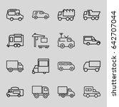 van icons set. set of 16 van... | Shutterstock .eps vector #642707044