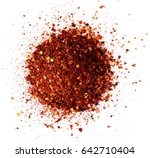 pile crushed red cayenne pepper ... | Shutterstock . vector #642710404