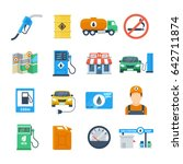 petrol station icons in a flat... | Shutterstock .eps vector #642711874