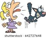 cartoon girl screaming and... | Shutterstock .eps vector #642727648