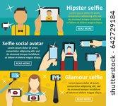selfie banner horizontal...   Shutterstock .eps vector #642729184
