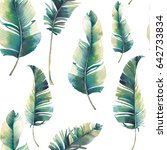 watercolor tropical leaves... | Shutterstock . vector #642733834