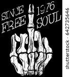 skull hand t shirt graphic... | Shutterstock .eps vector #642735646